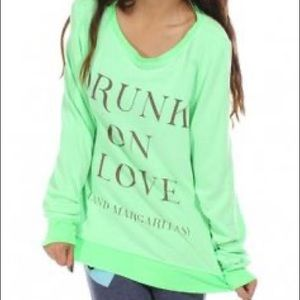 Lime Green Wildfox Drunk on Love Jumper